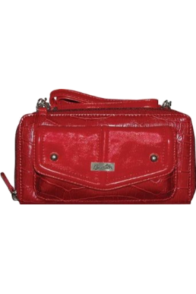Buxton Wallets -  Buxton Women's Croco Remix String-Along Cross Body Purse Red
