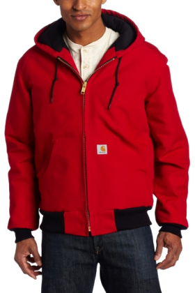 Carhartt Jacket - coats -  Carhartt Men's Duck Active Jac - Quilted Flannel Lined Red