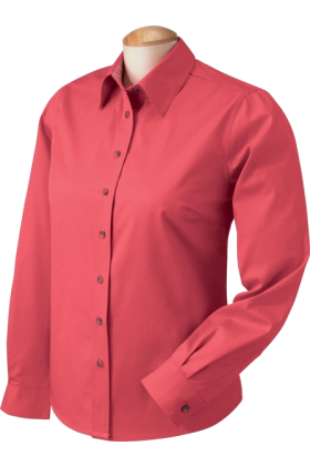 Chestnut Hill Long sleeves shirts -  Chestnut Hill Women's Performance Plus Twill Blouse. CH605W Terra Cotta / Terracot