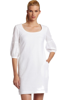 Donna Morgan Dresses -  Donna Morgan Women's 3/4 Sleeve Eyelet Shift Dress White