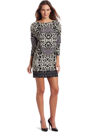 Donna Morgan Dresses -  Donna Morgan Women's Border Print Wedge Printed Jersey Dress Pale Fog
