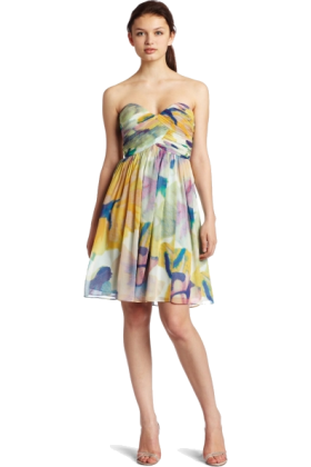 Donna Morgan Dresses -  Donna Morgan Women's Strapless Bustier Chiffon Dress Yellow Multi