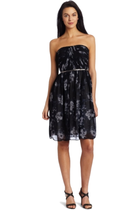 Donna Morgan ワンピース・ドレス -  Donna Morgan Women's Strapless Printed Chiffon Dress Black