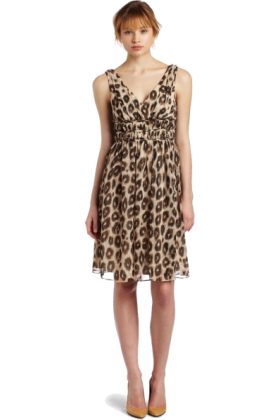 Donna Morgan ワンピース・ドレス -  Donna Morgan Womens Sleeveless Chiffon Dress Brown