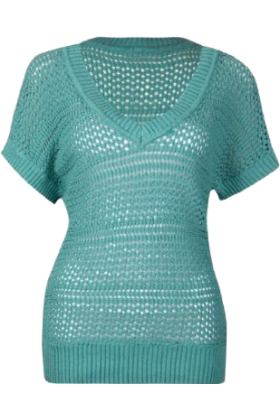 Full Tilt Pullovers -  FULL TILT Open Weave Womens Sweater Teal Green