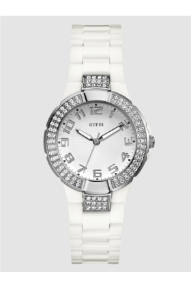 GUESS Watches -  GUESS Status In-the-Round Watch - White and Si