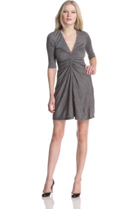Halston Heritage Dresses -  HALSTON HERITAGE Women's Front Gathered Dress Grey Melange