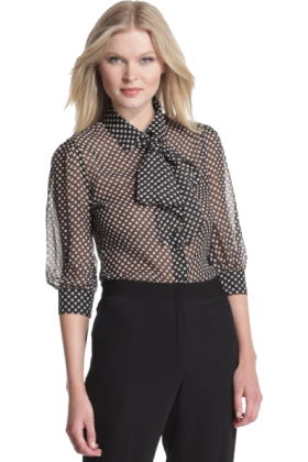 Halston Heritage Long sleeves shirts -  HALSTON HERITAGE Women's Removable Tie Blouse Black/ivory
