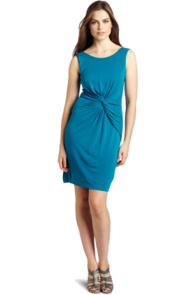 Halston Heritage Dresses -  HALSTON HERITAGE Women's Sleeveless Front Gathered Dress Mosaic Blue