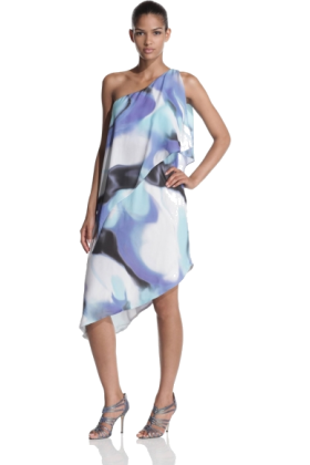 Halston Heritage Dresses -  Halston Heritage Women's Asymmetric Tiered Print Dress Galaxy