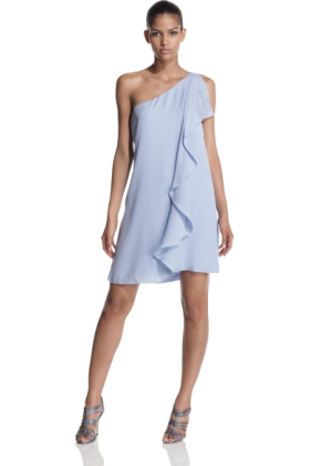 Halston Heritage Obleke -  Halston Heritage Women's One Shoulder Ruffle Dress Neptune