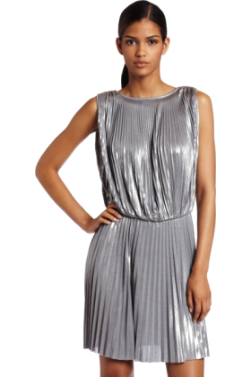 Halston Heritage Dresses -  Halston Heritage Women's Pleated Sleeveless Dress Sterling