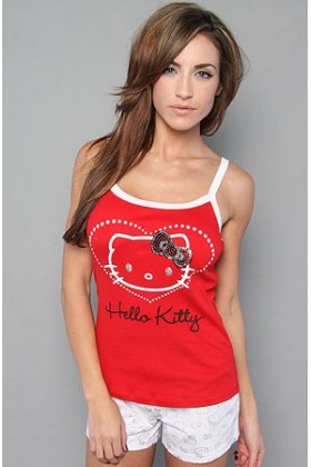 Hello Kitty T-shirts -  Hello Kitty Intimates The Shimmer n' Shine Sleep Set,Sleepwear for Women Red/White