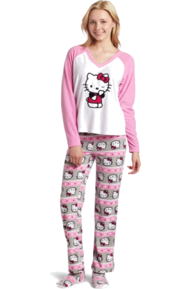 Hello Kitty Pajamas -  Hello Kitty Women's 3 Piece V-Neck Pajama Set with Slipper Light Pink