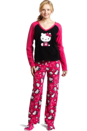 Hello Kitty Pajamas -  Hello Kitty Women's 3 Piece V-Neck Pajama Set with Slipper Pink