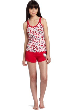 Hello Kitty Pajamas -  Hello Kitty Women's Hk Dreaming Of Love Pajama Short Set With Shorts And Printed Tank Top Red