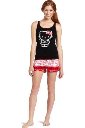 Hello Kitty Top -  Hello Kitty Women's Hk Nordic Comfort 2 Piece Pajama Short Set Tank Printed Top Black