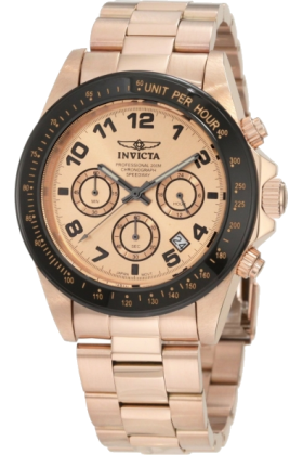 Invicta Zegarki -  Invicta Men's 10705 Speedway Chronograph Rose Dial 18k Rose Gold Ion-Plated Stainless Steel Watch