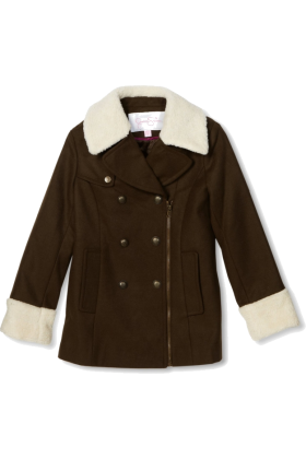 Jessica Simpson Jacket - coats -  Jessica Simpson Coats Girls 7-16 Asymmetrical Zipper Olive
