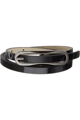 Jessica Simpson Belt -  Jessica Simpson Women's 3/8 Inch Elongated Buckle Super Skinny Belt Black