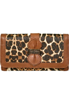 Jessica Simpson Clutch bags -  Jessica Simpson Women's Emma Double Sided Clutch Small Leather Walnut Multicolored Leopard Cheetah PVC