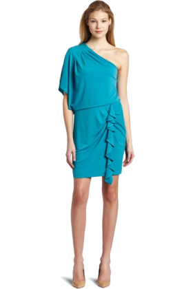 Jessica Simpson Dresses -  Jessica Simpson Women's Single Drape Sleeve Mini Dress Enamel Blue
