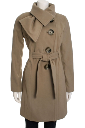 Jessica Simpson Jacket - coats -  Jessica Simpson Women's Tie Neck Belted Coat Mushroom