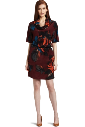 Kenneth Cole Dresses -  Kenneth Cole Women's Irish Rose Print Dress Fire Orange Combo