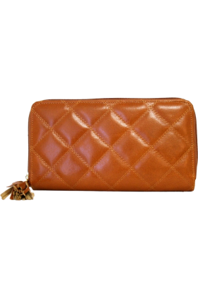Buxton Wallets -  Light Brown Buxton Medium Slim Zip Clutch Wallet