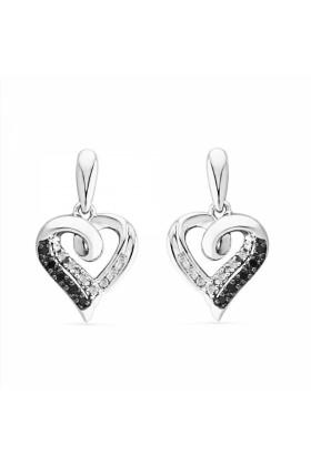 D-GOLD Earrings -  Platinum Plated Sterling Silver Black And White Round Diamond Fashion Earring (1/10 cttw)