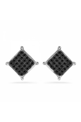 D-GOLD Earrings -  Platinum Plated Sterling Silver Round Diamond Black Square Fashion Earring (1/6 CTTW)