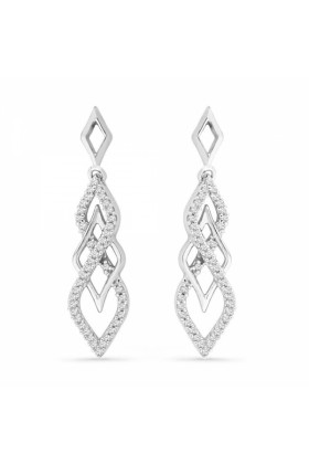 D-GOLD Earrings -  Platinum Plated Sterling Silver Round Diamond Twisted Fashion Earring (1/5 CTTW)