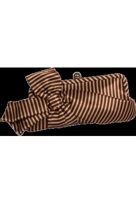 PacificPlex Clutch bags -  Satin Striped Bow Clutch Evening Bag Purse Beige