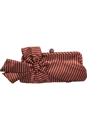 PacificPlex Clutch bags -  Satin Striped Bow Clutch Evening Bag Purse Red