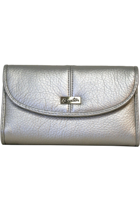 Buxton Wallets -  Silver Buxton Metallic Organizer Clutch Wallet