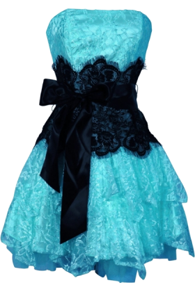 PacificPlex Dresses -  Strapless Bustier Contrast Lace and Crinoline Ruffle Prom Mini Dress Junior Plus Size Turquoise/Black
