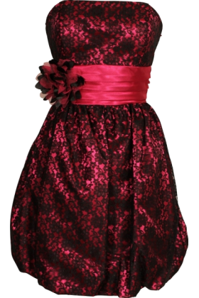 PacificPlex Dresses -  Strapless Lace Overlay Satin Bubble Prom Dress Black-Fuchsia