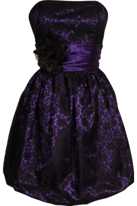 PacificPlex Dresses -  Strapless Lace Overlay Satin Bubble Prom Dress Black-Purple