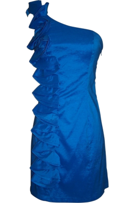 PacificPlex Dresses -  Taffeta Side Ruffle Knee-length Dress Cobalt-Blue
