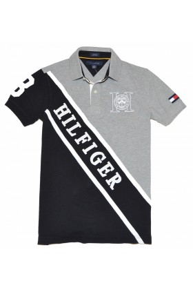 Tommy Hilfiger T-shirts -  Tommy Hilfiger Men Custom Fit Diagonal Logo Polo T-shirt Grey/Black/White