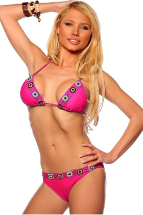 Hot from Hollywood Swimsuit -  Two Piece Crochet Trim Bikini Hot Summer Beach Sexy Low rise Brazilian Bikini Swim Suit Fuschia Crochet Trim