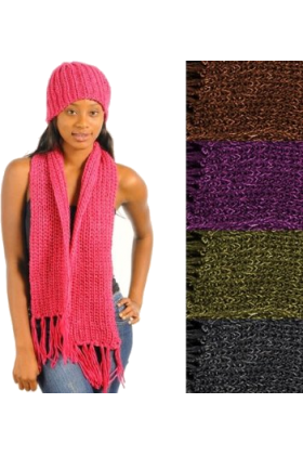 Hot from Hollywood Scarf -  Warm Cozy Crotchet Knit Design Matching Scarf and Hat Winter Style Set Pink