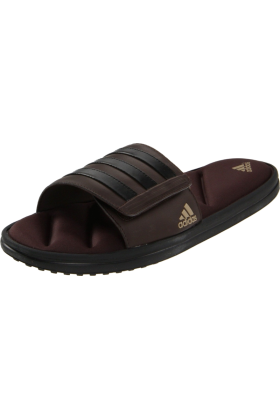 adidas Sandals -  adidas Men's Zeitfrei FitFOAM Slide Black/Mustang Brown/Clear Sand