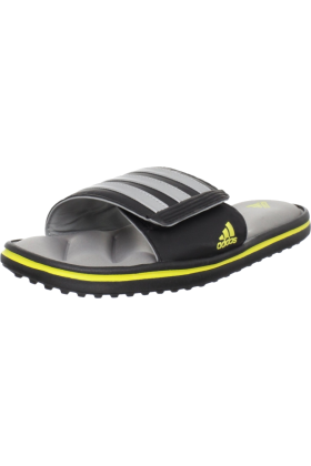 adidas Sandals -  adidas Men's Zeitfrei FitFOAM Slide Black/Shift Grey/Prime Yellow/Metallic Silver