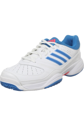 adidas Sneakers -  adidas Women's Ambition Stripes Vi W Tennis Shoe Running White/Sharp Blue/Turbo