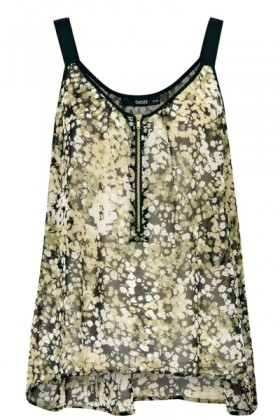 Oasis Top -  Ditsy Zip Front Camisole