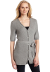 AK Anne Klein Veste -  AK Anne Klein Women's Elbow Sleeve Button Front Cardigan Light Charcoal