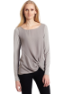 AK Anne Klein Long sleeves shirts -  AK Anne Klein Women's Long Sleeve Boat Neck Twist Front Chiffon Top Silver