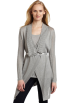 AK Anne Klein Cardigan -  AK Anne Klein Women's Long Sleeve Pointelle Flyaway Sweater Silver