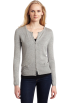 AK Anne Klein Veste -  AK Anne Klein Women's Petite Long Sleeve Crew Neck Cardigan with Bow Detail Light Charcoal